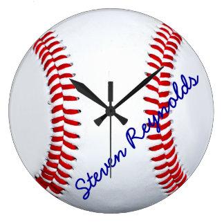 Reloj de pared grande personalizado del béisbol