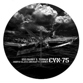 Reloj de pared (grande) redondo de CVN-75 Harry S.