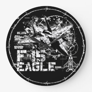 Reloj de pared (grande) redondo de F-15 Eagle