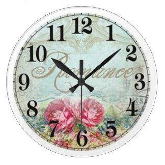 Reloj de pared (grande) redondo del vintage/rosas