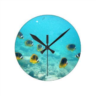 Reloj de pared hawaiano tropical de los pescados