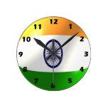 Reloj de pared indio de la bandera