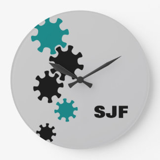 Reloj de pared industrial del diseño del monograma