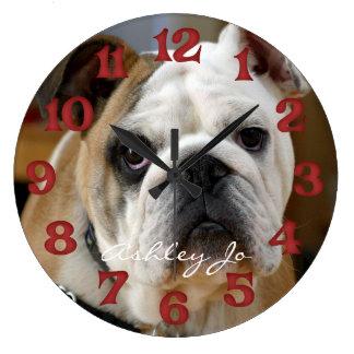 Reloj de pared inglés personalizado del dogo