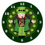 Reloj de pared irlandés del día de fiesta del Lepr