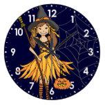 reloj de pared lindo de Halloween de los chicas de