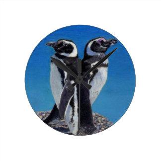 Reloj de pared lindo del arte del pingüino