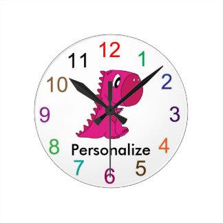 Reloj de pared lindo del dinosaurio del bebé