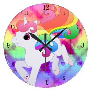 Reloj de pared lindo del unicornio del arco iris