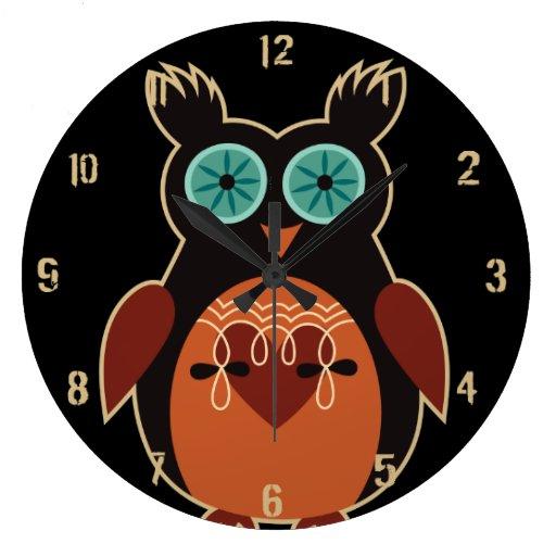 Reloj de pared lindo retro oscuro del búho