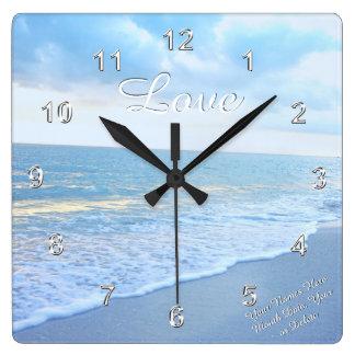 Reloj de pared magnífico del amor de la playa con