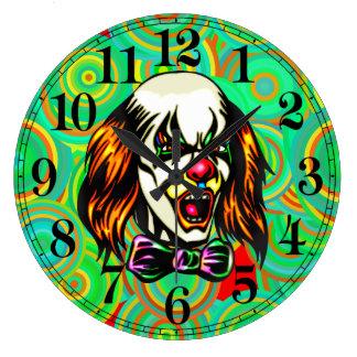 Reloj de pared malvado del payaso
