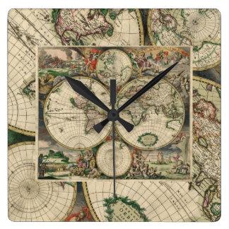 Reloj de pared/mapa del mundo cuadrados