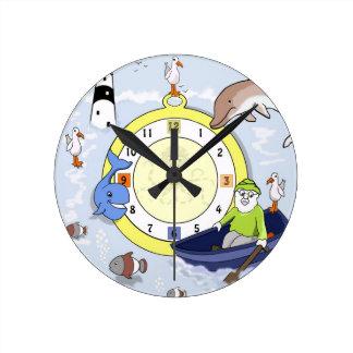 Reloj de pared marino del dibujo animado de los