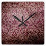 Reloj de pared marrón retro del Grunge del vintage
