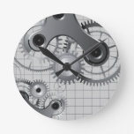 Reloj de pared mecánico de los engranajes