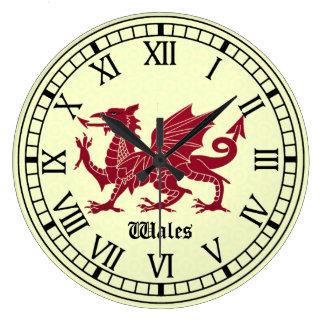 Reloj de pared medieval del dragón Galés - números