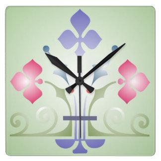 Reloj de pared medieval del modelo del verde rosad
