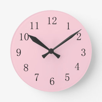 Reloj de pared (medio) redondo suave del rosa en