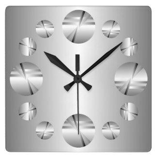 Reloj de pared metálico de plata abstracto de la i