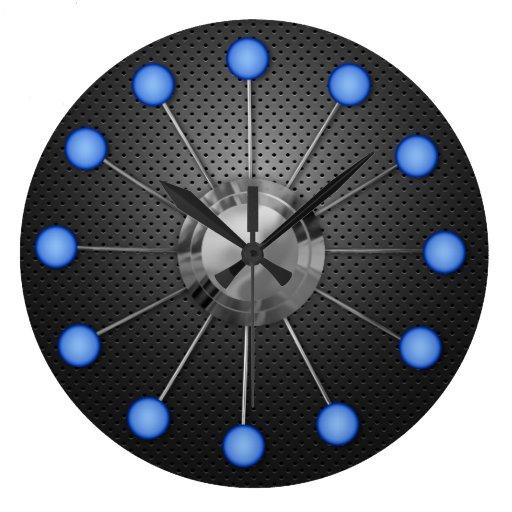 Reloj de pared metálico y azul de las bolas