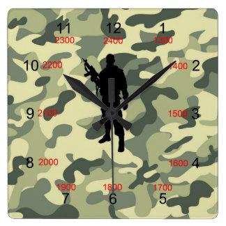 Reloj de pared militar del tiempo de Camo del sold