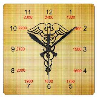 Reloj de pared militar del tiempo del caduceo