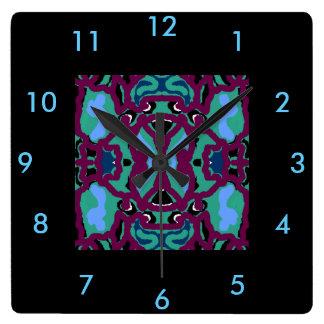 Reloj de pared moderno - azul, marrón, verde,