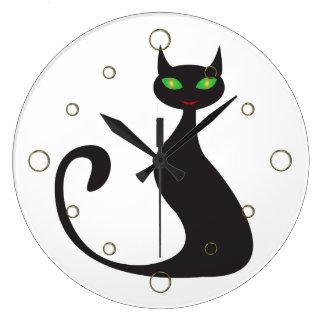 Reloj de pared moderno del gato negro