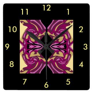 Reloj de pared moderno en marrón, rosado, negro,
