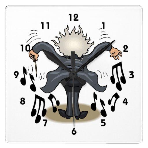 Reloj de pared musical divertido del cuadrado del