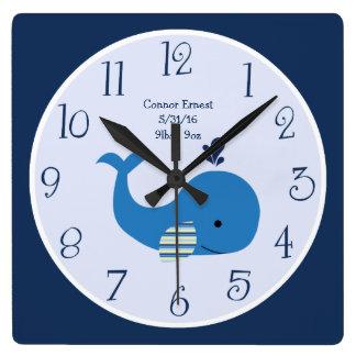 Reloj de pared náutico personalizado de la ballena