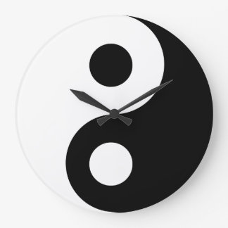 Reloj de pared negro de Yin Yang