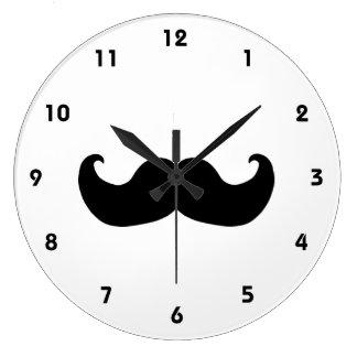 Reloj de pared negro del bigote con números