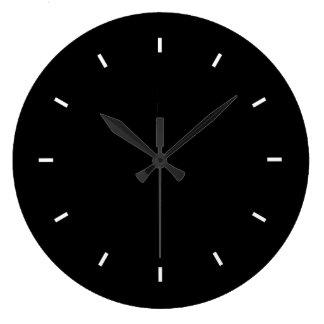Reloj de pared negro grande (redondo)