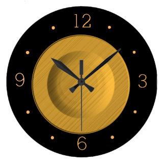 Reloj de pared negro y amarillo simplista de Gold>