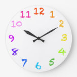 Reloj de pared numerado tiza del arco iris