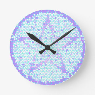 Reloj de pared pagano del mosaico del vitral del