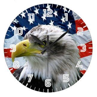Reloj de pared patriótico de la bandera americana