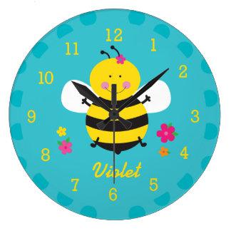 Reloj de pared personalizado abeja linda