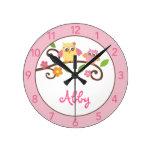 Reloj de pared personalizado búho del cuarto de ni