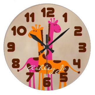 Reloj de pared personalizado de la jirafa