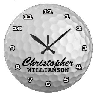 Reloj de pared personalizado de la pelota de golf