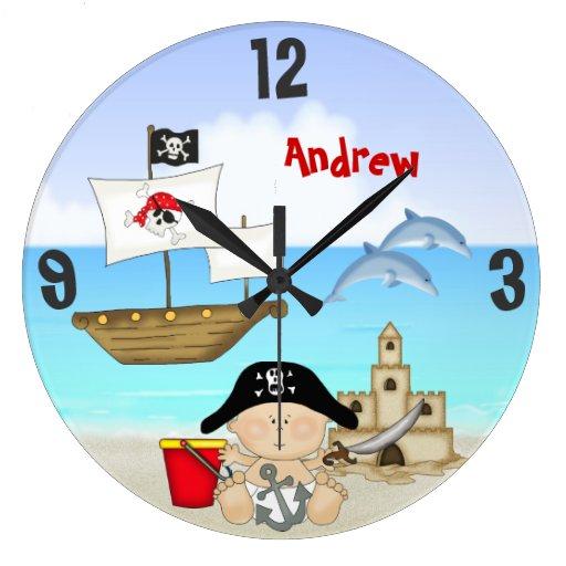 Reloj de pared personalizado de la playa del pirat