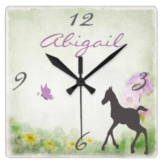 Reloj de pared personalizado del caballo del potro