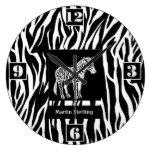 Reloj de pared personalizado del estampado de zebr
