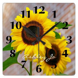 Reloj de pared personalizado del girasol