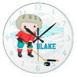 Reloj de pared personalizado del hockey sobre hiel