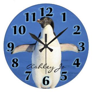 Reloj de pared personalizado del pingüino