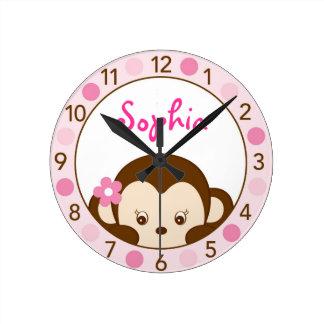 Reloj de pared personalizado mono del cuarto de ni
